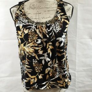 🔥5 for 15 Jones New York Brown Floral Beaded Top
